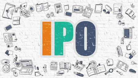 initial public offerings: IPO - Initial Public Offering - Multicolor Concept with Doodle Icons Around on White Brick Wall Background. Modern Illustration with Elements of Doodle Design Style.