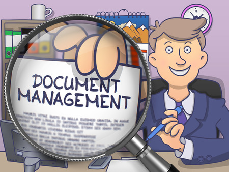 dms: Document Management on Paper in Businessmans Hand through Magnifier to Illustrate a Business Concept. Multicolor Doodle Style Illustration. Stock Photo