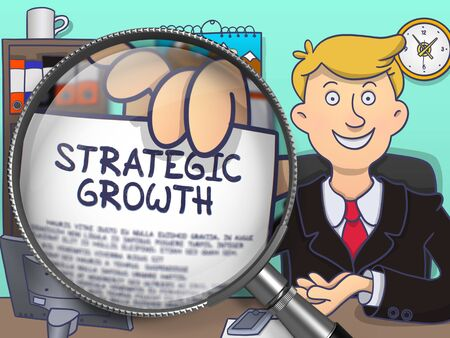 accomplish: Man Welcomes in Office and Shows Text on Paper Strategic Growth. Closeup View through Magnifying Glass. Colored Doodle Style Illustration. Stock Photo