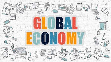 relaciones laborales: Multicolor Concepto - Economía Global - en blanco de la pared de ladrillo con los iconos del Doodle alrededor. Ilustración moderna con diseño de estilo de bosquejo. Foto de archivo