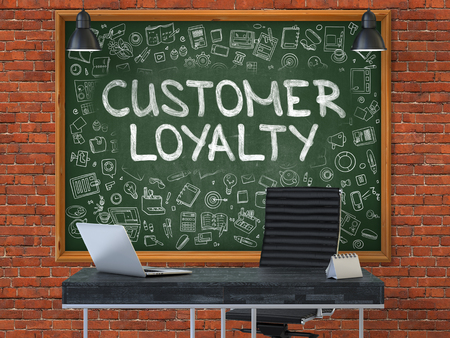 stimulus: Customer Loyalty - Handwritten Inscription by Chalk on Green Chalkboard with Doodle Icons Around. Business Concept in the Interior of a Modern Office on the Red Brick Wall Background. 3D. Stock Photo