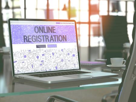 Concepto de registro en línea. Primer aterrizaje de página en pantalla de ordenador portátil en el diseño de estilo de bosquejo. En el fondo de un cómodo lugar de trabajo en la oficina moderna. Borrosa, Imagen virada. Render 3D.
