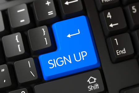 sign up button: Sign Up Button. Sign Up Key on PC Keyboard. Modernized Keyboard with the words Sign Up on Blue Key. Sign Up Concept: PC Keyboard with Sign Up on Blue Enter Keypad Background, Selected Focus. 3D.