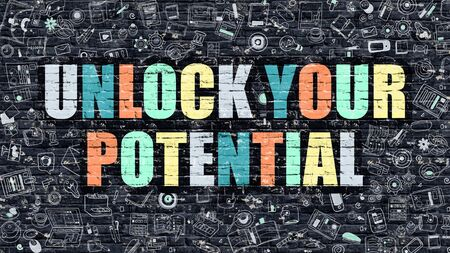 potential: Unlock Your Potential - Multicolor Concept on Dark Brick Wall Background with Doodle Icons Around. Illustration with Elements of Doodle Style. Unlock Your Potential on Dark Wall.