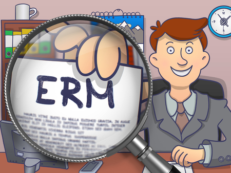 ERM - Enterprise Risk Management. Business Man in Office Workplace Showing Text on Paper through Lens. Multicolor Modern Line Illustration in Doodle Style. Stock Photo
