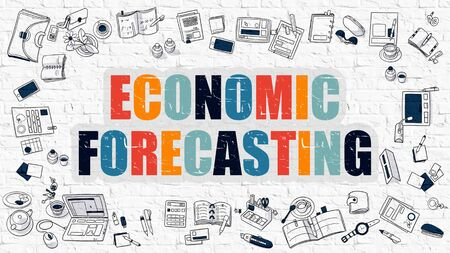 forecasting: Economic Forecasting. Multicolor Inscription on White Brick Wall with Doodle Icons Around. Modern Style Illustration with Doodle Design Icons. Economic Forecasting on White Brickwall Background.