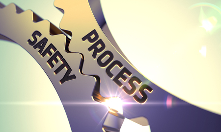 Process Safety - Illustration with Lens Flare. Process Safety on the Golden Gears. Process Safety on Mechanism of Golden Metallic Cog Gears with Lens Flare. 3D.