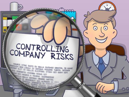 controlling: Controlling Company Risks through Magnifier. Business Man Shows Paper with Concept. Closeup View. Colored Modern Line Illustration in Doodle Style.
