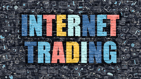 trading: Internet Trading Concept. Internet Trading Drawn on Dark Wall. Internet Trading in Multicolor. Internet Trading Concept. Modern Illustration in Doodle Design of Internet Trading. Stock Photo
