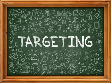 targeting: Green Chalkboard with Hand Drawn Targeting with Doodle Icons Around. Line Style Illustration.