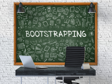 bootstrap: Green Chalkboard with the Text Bootstrapping Hangs on the White Brick Wall in the Interior of a Modern Office. Illustration with Doodle Style Elements. 3D.