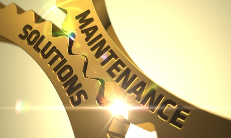 qualitatively: Maintenance Solutions - Industrial Illustration with Glow Effect and Lens Flare. Golden Gears with Maintenance Solutions Concept. Maintenance Solutions - Technical Design. 3D Render.