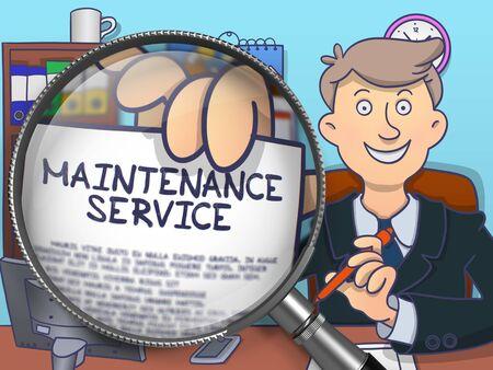 availability: Man Shows Maintenance Service Offer. Closeup View through Lens. Multicolor Doodle Illustration.