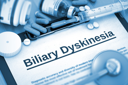 Biliary Dyskinesia Diagnosis, Medical Concept. Diagnosis - Biliary Dyskinesia On Background of Medicaments Composition - Pills, Injections and Syringe. Toned Image. 3D Rendering. Stock Photo