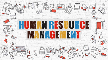 human resource: Human Resource Management - Multicolor Concept with Doodle Icons Around on White Brick Wall Background. Modern Illustration with Elements of Doodle Design Style.