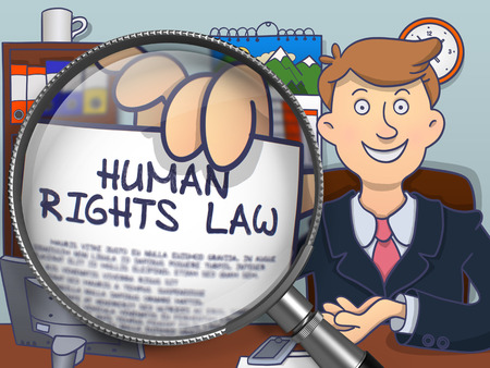 victim war: Officeman Showing Concept on Paper - Human Rights Law. Closeup View through Lens. Colored Modern Line Illustration in Doodle Style.