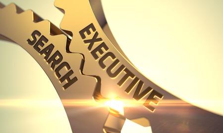 executive search: Golden Metallic Cogwheels with Executive Search Concept. Executive Search on Mechanism of Golden Metallic Gears with Glow Effect. Executive Search - Illustration with Glowing Light Effect. 3D.