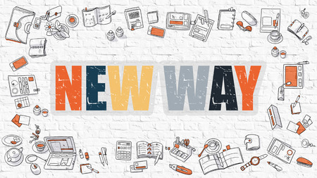 newer: New Way Concept. New Way Drawn on White Wall. New Way in Multicolor. Doodle Design. Modern Style Illustration. Doodle Design Style of New Way. Line Style Illustration. White Brick Wall.