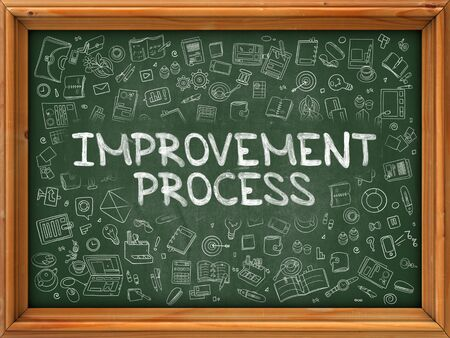 Improvement Process - Hand Drawn on Chalkboard. Improvement Process with Doodle Icons Around.