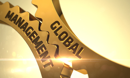 transnational: Golden Gears with Global Management Concept. Global Management on Mechanism of Golden Gears with Lens Flare. Global Management Golden Metallic Cogwheels. Global Management on the Golden Gears. 3D.