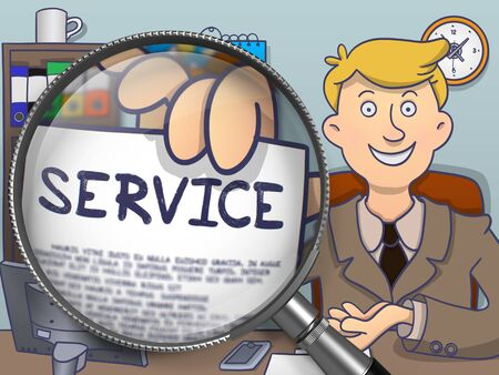 paper delivery person: Service on Paper in Business Mans Hand to Illustrate a Business Concept. Closeup View through Magnifying Glass. Colored Modern Line Illustration in Doodle Style. Stock Photo