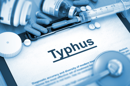 typhus: Typhus - Printed Diagnosis with Blurred Text. Diagnosis - Typhus On Background of Medicaments Composition - Pills, Injections and Syringe. Toned Image. 3D Rendering.