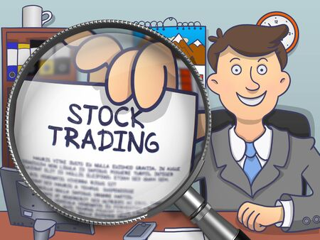 stock trading: Businessman Sitting in Office and Showing Paper with Concept Stock Trading. Closeup View through Magnifier. Multicolor Modern Line Illustration in Doodle Style. Stock Photo