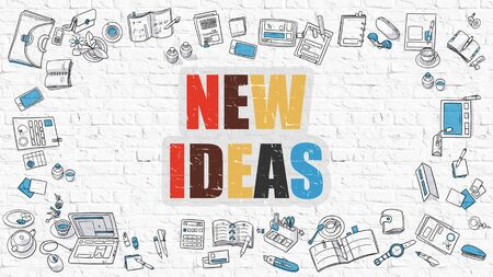 aspirational: Multicolor Concept - New Ideas - on White Brick Wall with Doodle Icons Around. Modern Illustration with Doodle Design Style. Stock Photo