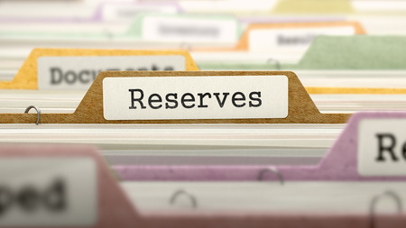 reserves: Reserves Concept on File Label in Multicolor Card Index. Closeup View. Selective Focus. 3D Render.