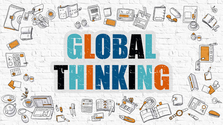 global thinking: Global Thinking - Multicolor Concept with Doodle Icons Around on White Brick Wall Background. Modern Illustration with Elements of Doodle Design Style.