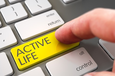 active life: Close Up view of Male Hand Touching Active Life Computer Keypad. Business Concept - Male Finger Pointing Active Life Key on Laptop Keyboard. Hand Pushing Active Life Yellow White Keyboard Button. 3D. Stock Photo