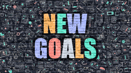 execution: New Goals. Multicolor Inscription on Dark Brick Wall with Doodle Icons Around. New Goals Concept. Modern Style Illustration with Doodle Design Icons. New Goals on Dark Brickwall Background.