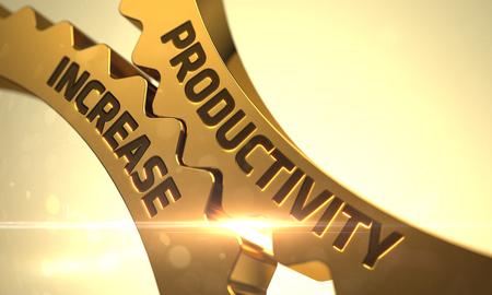 refinement: Productivity Increase on Mechanism of Golden Metallic Cogwheels with Lens Flare. Golden Metallic Cogwheels with Productivity Increase Concept. Productivity Increase on Golden Metallic Gears. 3D. Stock Photo
