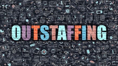 minimization: Outstaffing - Multicolor Concept on Dark Brick Wall Background with Doodle Icons Around. Modern Illustration with Elements of Doodle Style. Outstaffing on Dark Wall.