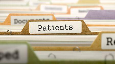 pacjent: Pacjenci - Folder Rejestracja Nazwa Directory. Barwne, zamazany obraz. Zbliżenie View. Renderowania 3D.