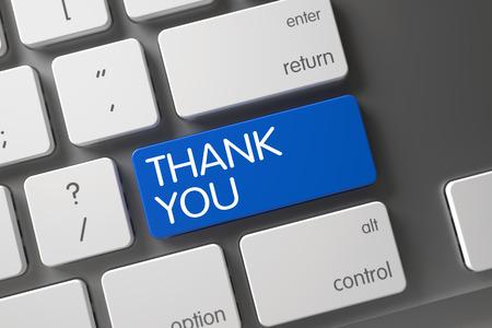 agradecimiento: Teclado portátil moderna con el botón caliente de Gracias. Teclado teclado de ordenador con etiqueta Gracias. Gracias botón. El azul le agradece clave en el teclado. Gracias teclado en el teclado modernizado. Render 3D.
