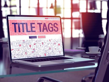 Posto di lavoro moderno con il computer portatile che mostra la pagina di arrivo nello stile di disegno di Doodle con i tag di titolo di testo. Immagine tonica con il fuoco selettivo. Rendering 3D.
