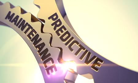 predictive: Predictive Maintenance on Mechanism of Golden Cogwheels with Glow Effect. Predictive Maintenance on Golden Metallic Cogwheels. Golden Cog Gears with Predictive Maintenance Concept. 3D Render.
