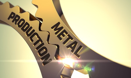 mech: Metal Production on the Mechanism of Golden Metallic Cogwheels with Lens Flare. Metal Production - Technical Design. Metal Production - Industrial Illustration with Glow Effect and Lens Flare. 3D.