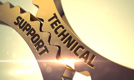 Technische ondersteuning op Mechanisme van Golden Metallic Cog Gears. Technische ondersteuning - Industriële Illustratie met Glow Effect en Lens Flare. Golden Gears met Technical Support Concept. 3D Render.