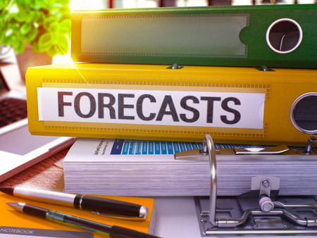 forecasts: Forecasts - Yellow Office Folder on Background of Working Table with Stationery and Laptop. Forecasts Business Concept on Blurred Background. Forecasts Toned Image. 3D.