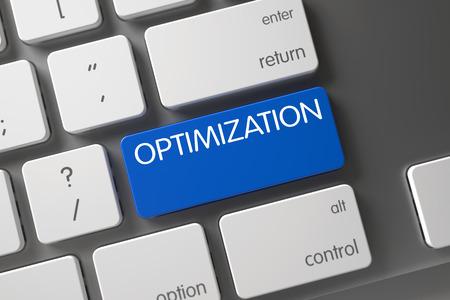 cutback: Optimization on Slim Aluminum Keyboard Background. Keypad Optimization on Laptop Keyboard. Optimization Written on Blue Button of Modern Keyboard. 3D. Stock Photo