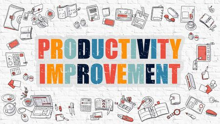enhancement: Productivity Improvement. Multicolor Inscription on White Brick Wall with Doodle Icons Around. Modern Style Illustration with Doodle Design Icons. Productivity Improvement on White Brickwall. Stock Photo