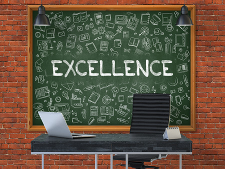 capability: Excellence - Handwritten Inscription by Chalk on Green Chalkboard with Doodle Icons Around. Business Concept in the Interior of a Modern Office on the Red Brick Wall Background. 3D.