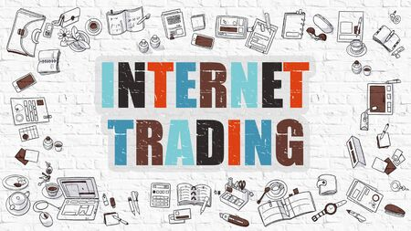 currencies: Internet Trading Concept. Modern Line Style Illustration. Multicolor Internet Trading Drawn on White Brick Wall. Doodle Icons. Doodle Design Style of Internet Trading Concept. Stock Photo