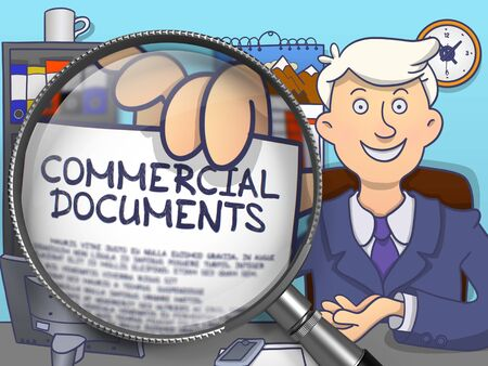 proxy: Commercial Documents on Paper in Mans Hand to Illustrate a Business Concept. Closeup View through Magnifier. Colored Modern Line Illustration in Doodle Style.