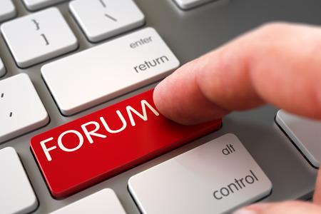 happening: Hand of Young Man on Forum Red Keypad. Forum Concept. Forum Concept - Modern Keyboard with Forum Keypad. Forum - Computer Keyboard Concept. Modern Keyboard with Forum Red Keypad. 3D. Stock Photo