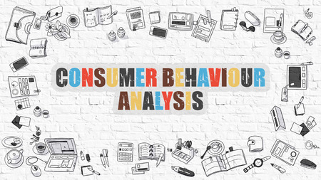 behaviour: Consumer Behaviour Analysis - Multicolor Concept with Doodle Icons Around on White Brick Wall Background. Modern Illustration with Elements of Doodle Design Style. Stock Photo