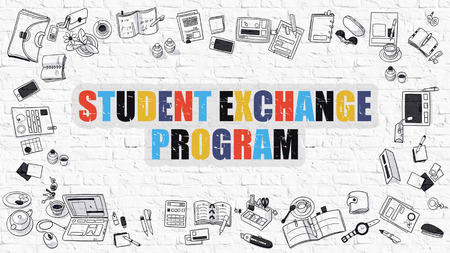 Student Exchange Program Concept. Student Exchange Program Drawn on White Wall. Student Exchange Program in Multicolor. Modern Style Illustration. Line Style Illustration. White Brick Wall. Stock Photo