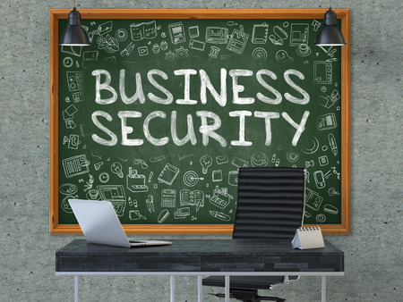 stocktaking: Business Security Concept Handwritten on Green Chalkboard with Doodle Icons. Office Interior with Modern Workplace. Gray Concrete Wall Background. 3D.